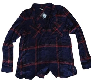 BDG Button Down Shirt red/navy plaid