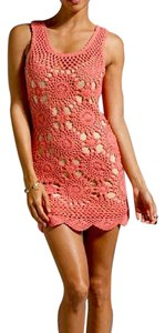 ETERNAL SUNSHINE CREATIONS short dress Pink Crochet Sunflower Bodycon Tan Stretchy Classic Chic Summer on Tradesy