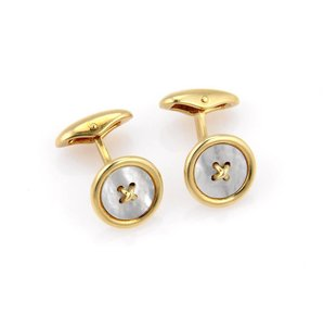 Tiffany & Co. Mother of Pearl & 18K Yellow Gold Button Design Cufflinks