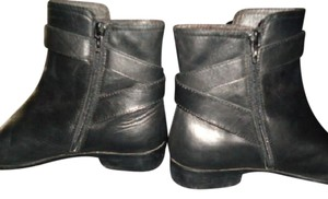 Sesto Meucci Leather Chunky Heels 3 Inch Heels Black Boots