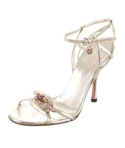 Gucci Ankle Strap Gg Crystal Embellished Gold, Pink Sandals
