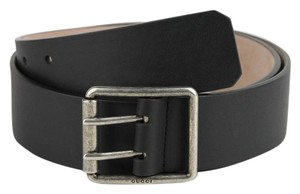 Gucci Gucci Black Leather Belt With Gray Two Hole Buckle 85/34 387026 1000