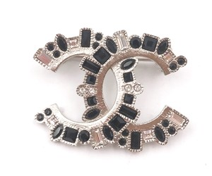 Chanel Chanel Brand New Silver CC Black Crystal Small Brooch
