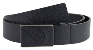Gucci Gucci Navy Blue Leather Belt With Leather Buckle 100/40 368188 4009
