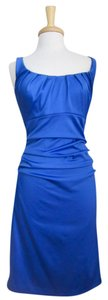 Suzi Chin Ruched Ruching Tank Sheath Scoop Neck Dress