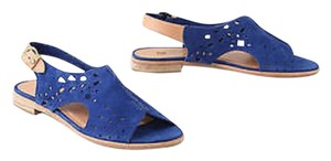 Anthropologie Leather Suede Cobalt blue Sandals
