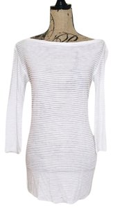 L'AGENCE Sheer Knit Tunic Classic Top White