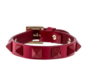 Valentino Red leather Valentino Rockstud wrap bracelet