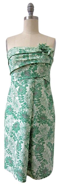Item - Green White Strapless Ruched Floral Short Cocktail Dress Size 0 (XS)