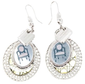 Dior #11136 chandelier quilted chair logo silver earrings