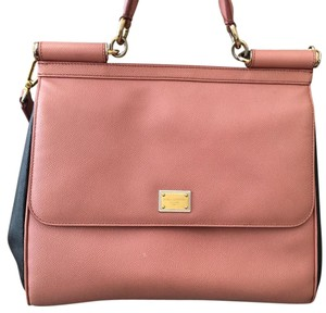 Dolce&Gabbana Satchel in black and pink nude w gold hardware