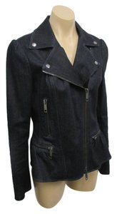 Burberry London Jacket Zipper Front Size 10 Dark Blue Denim Blazer