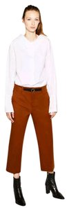 Zara Belted Gold Hardware Machine Washable Short Capri/Cropped Pants Rust