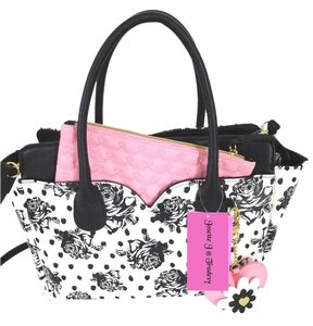 Betsey Johnson Striped Fuchsia Pouch Satchel in BONE/BLACK
