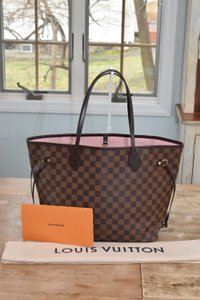 Louis Vuitton Lv Neverfull Mm Neverfull Gm Tote in Damier with PINK BALLERINE lining