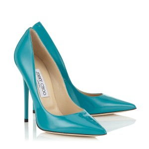 Jimmy Choo Patent Leather Pointed Toe Anouk Stiletto Metallic Blue Pumps