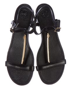 Tory Burch Gold Hardware Reva Logo Strappy Miller Black, Gold Sandals