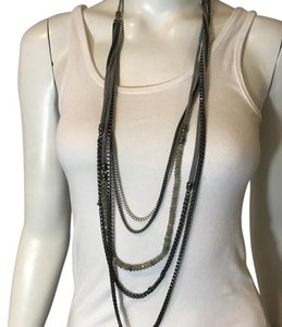 Anthropologie SEA SMADER 10117 LONG MULTILAYER SILVER LEATHER STONE NECKLACE