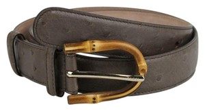 Gucci Grey Ostrich Leather Belt With Bamboo Buckle 85/34 322954 2137
