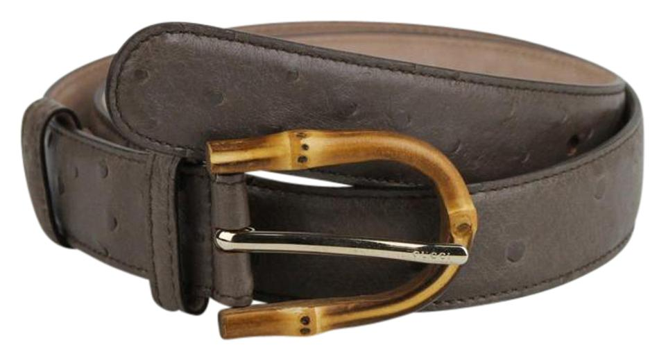 182ee41ab Gucci Grey Ostrich Leather Belt With Bamboo Buckle 85/34 322954 2137 Image  0 ...