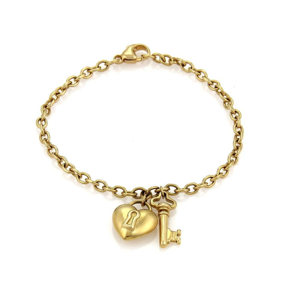 18k Yellow Gold Puff Heart Lock Key Charms Chain Bracelet