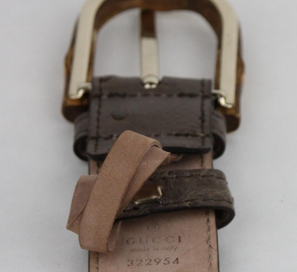 5d0d0d5c4 Gucci Grey Ostrich Leather Belt With Bamboo Buckle 95/38 322954 2137 Image  4. 12345