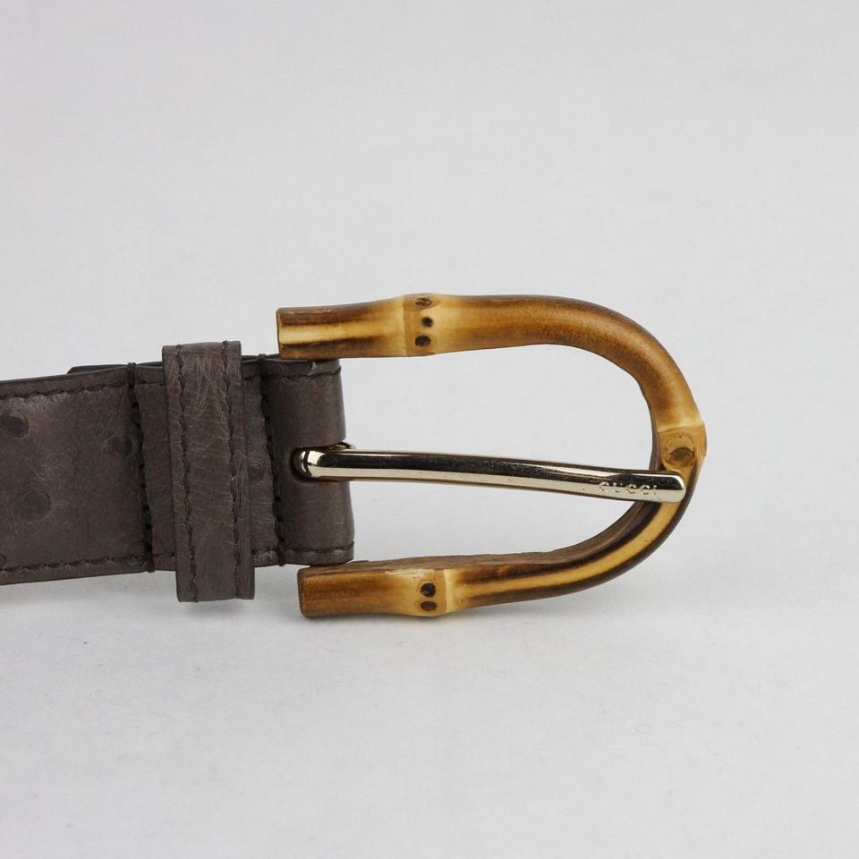 777cfe227 Gucci Grey Ostrich Leather with Bamboo Buckle 100/40 322954 2137 Belt