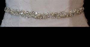 Ivory/Silver Rhinestone Crystal and Pearl Dress Belt Sash