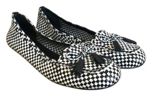 Tory Burch Checkered Loafers Black + White Flats