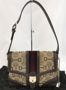 Gucci Charm Key Webbed Horsebit Shoulder Bag