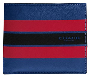 Coach NEW COACH men's colorblock red blue striped leather wallet ID case