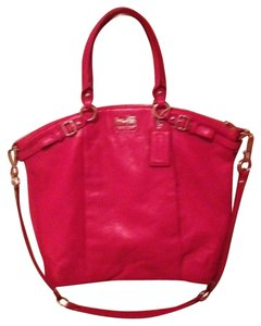 Coach Leather God All Occasion Satchel in fuchsia pink
