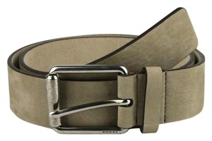Gucci Suede Leather Tan Belt Metal Buckle w/GG Detail 95/38 268222 9613