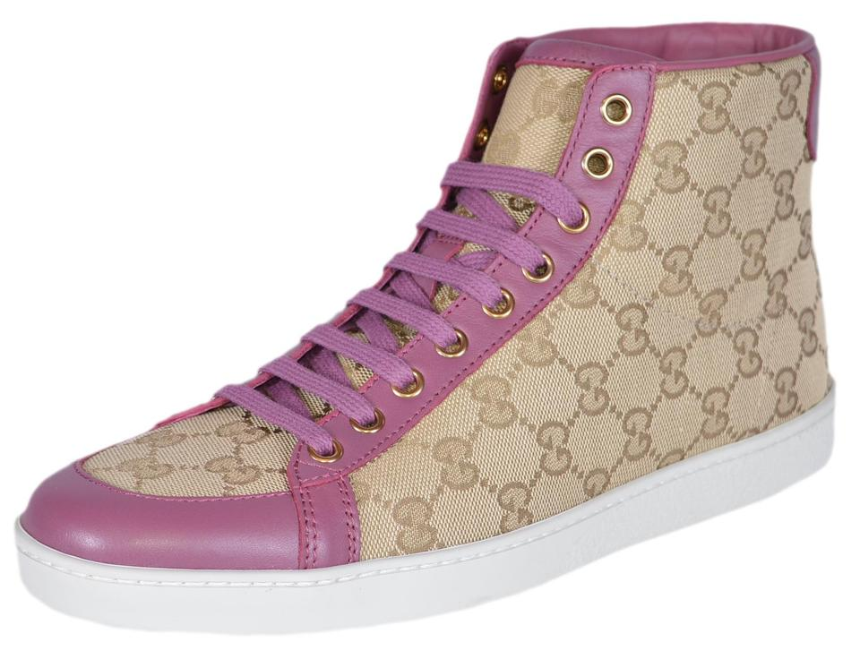 040e4887a Gucci Sand/Pink Brooklyn New Women's Gg Guccissima High Top Sneakers ...