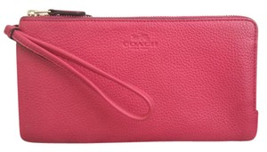 Coach NEW COACH double zip Leather Phone + Wallet Wristlet bag bright Pink