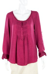 Rebecca Taylor Silk Textured Pleated Rose Peasant Top Pink