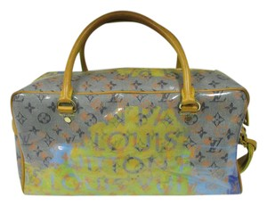 Louis Vuitton Limited Edition Stonewashed Monogram Watercolor Satchel in Blue, Yellow, Orange