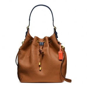 Coach Leather Monogram Shoulder Bag