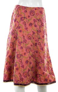 Cynthia Steffe Pink Embroidered Midi A-line Skirt