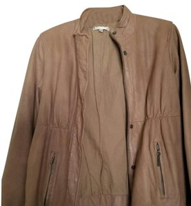 Vince Bomber Leather Taupe/Beige/Gray/Nude Leather Jacket