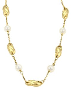 Tiffany & Co. Elsa Peretti Seahorse & Pearls Charm Link 18k Yellow Gold Necklace