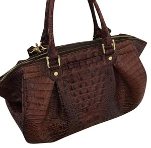 Brahmin Satchel in Chocolate Brown