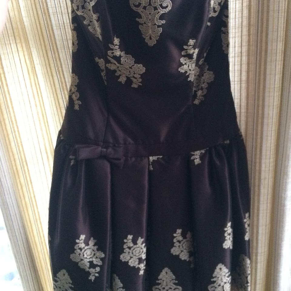 Jessica McClintock Brown Lace Mid-length Cocktail Dress Size 6 (S ...