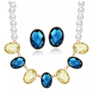 Other Swarovski Crystal & Pearl Blue Yellow Oval Necklace DF100