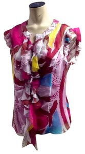 Diane von Furstenberg Top pink,yellow, white, blue
