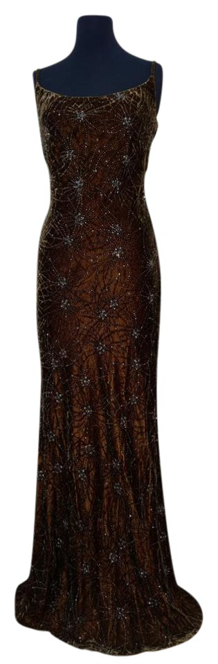 Carmen Marc Valvo Chocolate Copper Collection Long Formal Dress