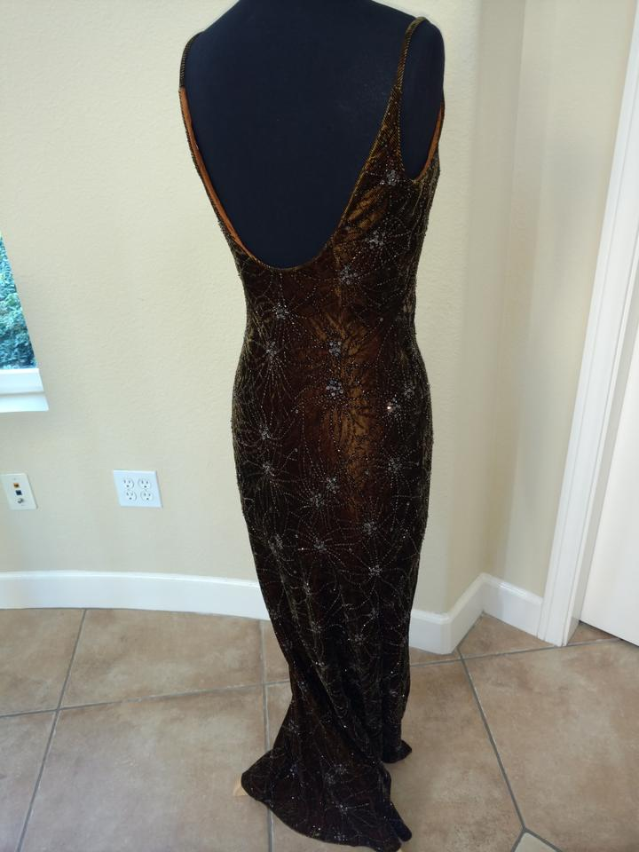 Carmen Marc Valvo Chocolate & Copper Collection Long Formal Dress ...