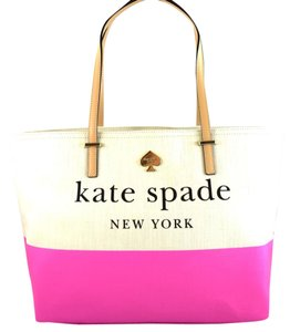 Kate Spade Tote in Natural/Gulabi pink
