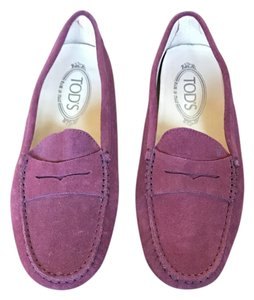 Tod's Loafers Suede Penny Loafer burgundy Flats