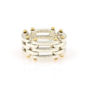 Tiffany & Co. Gatelink Collection 925 Silver & 18K Yellow Gold 11mm Band Size 8.25